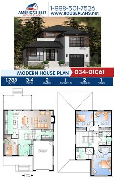 Modern House Plan 034-01061 Simple Floor Plans, Modern House Floor Plans, Open Concept Floor Plans, Best House Plans, Dream House Plans, Small Luxury Homes, Luxury Homes Dream Houses, Farmhouse Layout, Farmhouse Floor Plans