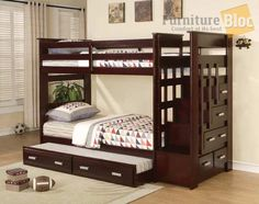 Allentown Espresso Twin Twin Trundle Bunk Bed Stairs Storage (sku: 1310170)…