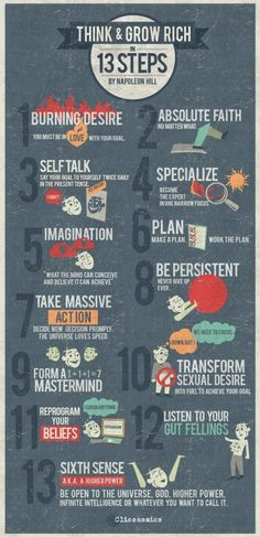 Think And Grow Rich: 13 Steps success tips infographic self improvement wealth self help tips on self improvement self improvement infographic Self Development, Personal Development, Design Development, Guter Rat, Motivational Quotes, Inspirational Quotes, Think And Grow Rich, Tony Robbins, Self Improvement