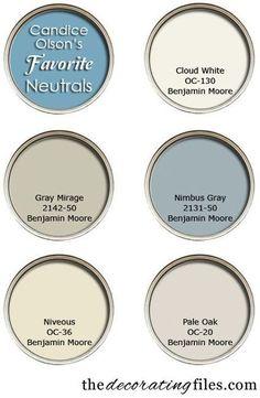 Color Palette. Designer's Favorite Color Palette. Candice Olson's Favorite Neutrals. #ColorPalette #CandiceOlsonPaintColor From decorating files.
