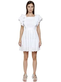 Philosophy Di Lorenzo Serafini Embroidered Cotton Poplin Eyelet Dress In White White Eyelet Dress, Ruffle Shorts, Short Sleeve Dresses, Short Sleeves, Poplin, Day Dresses, Philosophy, Style Inspiration, Florence