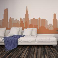 Cityscape Decal CHICAGO ILLINOIS Skyline Wall Decal Vinyl Football  Basketball Team Colors Decor Part 80