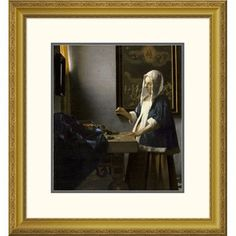 """Global Gallery 'Woman Holding a Balance' by Johannes Vermeer Framed Painting Print Size: 32"""" H x 29.58"""" W x 1.5"""" D"""
