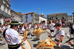 Traditional drummers (Zes Pereiras) acting during the Our Lady of Agony Festivities, the biggest traditional festival in Portugal. Viana do Castelo. Portugal's Great Festivities by Mauricio Abreu, Images of Portugal, Portugal