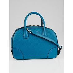 Pre-owned Gucci Turquoise Diamante Textured Leather ($995) ❤ liked on Polyvore featuring bags, handbags, blue satchel handbags, blue cross body purse, preowned handbags, blue handbags and gucci purses