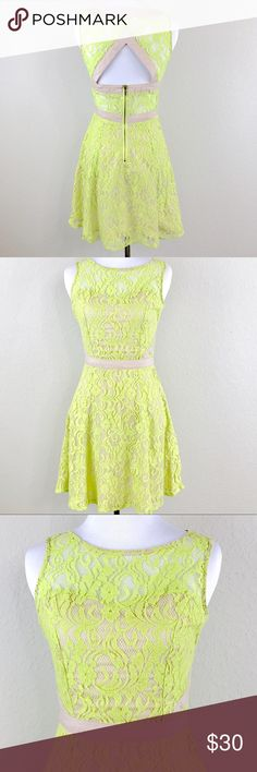 "BCBGeneration Green Lace Overlay Cutout Dress Size: Small Condition: NWOT Material: 65% Cotton, 35% Nylon Measurements (approx. when flat): Length 33.5"" Bust 15"" BCBGeneration Dresses Mini"
