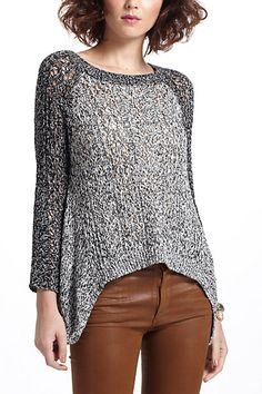 Dipped Lace Marled Sweater #anthropologie