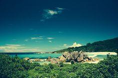 La digue, vista di una spiaggia da un sentiero