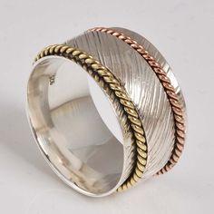 FINE JEWELLERY 925 STERLING SILVER DESIGNER SPINNER RING 7.69g DJR7916 S-9.5 #Handmade #SpinnerRing
