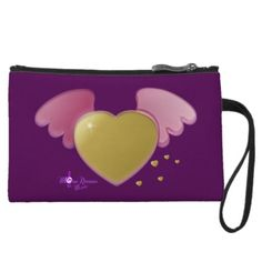 Gold Heart & Pink Angel Wings Mini Clutch Bag by #MoonDreamsMusic #MiniClutchBag #MiniWristlet #GoldHeart #PinkAngelWings #FashionAccessories #ValentinesDayFashion$37.95