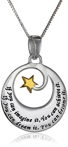 """Two-Tone Sterling Silver and Yellow Gold Inspirational Pendant Necklace, 18"""" Amazon Curated Collection"""