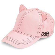 b74abdc164d9a1 Karl Lagerfeld Paris Women's Cat Ears Baseball Hat ($19) ❤ liked on Polyvore  featuring accessories, hats, black, baseball cap hats, pink baseball cap,  ...