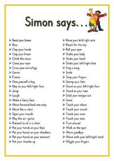 Simon says. Printable ideas for playing Simon Says. Great for Brain Breaks Preschool Songs, Preschool Learning, Kids Songs, Learning Activities, Baby Activities, Physical Activities For Kids, Gross Motor Activities, Physical Education Games, Gross Motor Skills