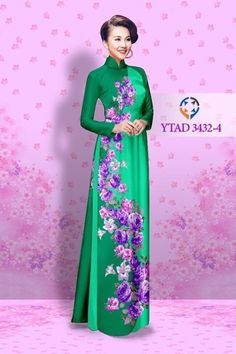 Ao dai vietnamese traditional long dress printed  flowers with pants green, blue