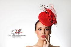 Red Fascinator mini hat Sophisticated Melbourne by FeltSilkArtGift