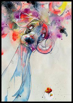 Beautiful colors and fun theme! Dog Art Print  Dog Wall Art  Print of Original by BlackInkArtz, $12.00