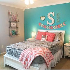 Girls Bedroom Colors, Girl Room Ideas Cars Wanna try this idea soon? : Girls Bedroom Colors, Girl Room Ideas Cars Wanna try this idea soon? Cute Girls Bedrooms, Girls Bedroom Colors, Teenage Girl Bedrooms, Girl Bedroom Designs, Kids Bedroom Ideas For Girls Tween, Teal Teen Bedrooms, Preteen Bedroom, Girls Fun, Bedroom Girls