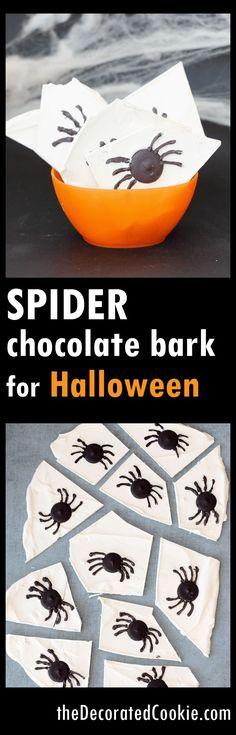 EASY creepy spider chocolate bark for Halloween