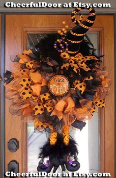 Witch Wreath Orange and Black with Velvet Hat, Witch Legs Feet Boots Trick or Treat