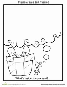 Second Grade Life Learning Worksheets: Finish the Drawing: What's Inside the Present?