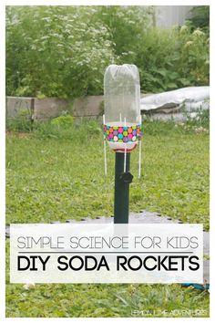 DIY Soda Rockets for Kids :: fun kids science project :: outdoor STEM activity