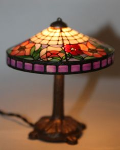 Vtg Dollhouse Miniature Kummerow Mission Tiffany Art Glass Style Lamp Electric #KummerowsStudioofMiniatureDesign