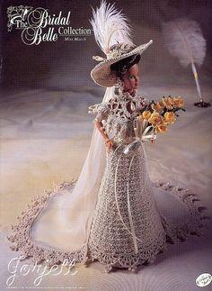 Barbie Wedding Dress, Barbie Gowns, Wedding Dresses, Barbie Doll, Moda Crochet, Crochet Doll Pattern, Crochet Toys, Crochet Patterns, Barbie Style