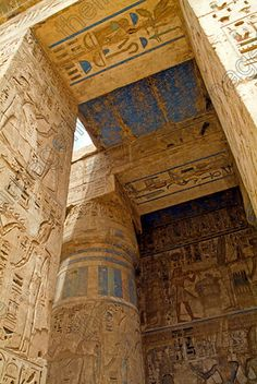 Medinet Habu Ancient Temple Egypt Court Ceiling Roof Lintels Carvings Colours. Luxor