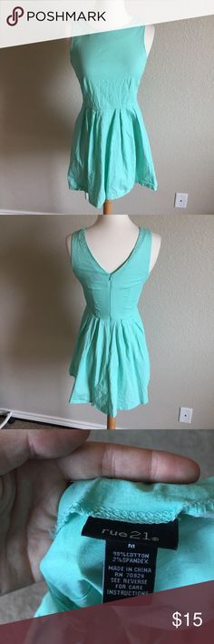 Turquoise A Line Dress (46) Simple little blue dress, has a vintage style and a summery feel. Gently worn but no flaws. Tag size medium. Bust- 15 inches Waist- 12.5 inches Length- 31 inches Rue21 Dresses Mini