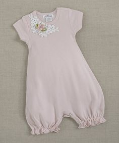 Look at this Truffles Ruffles Blush Lace Flower Olivia Romper - Infant on #zulily today!