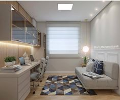 Home Office Layouts, Home Office Space, Home Office Design, Home Office Decor, House Design, Home Decor, Modern Home Offices, Small Home Offices, Guest Room