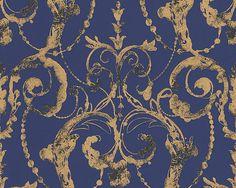 Vliestapete Barock blau gold Tapete livingwalls Flock 4 95691-4 956914