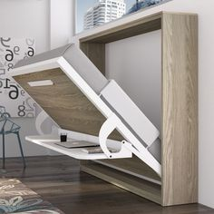 Decorate your room in a new style with murphy bed plans Cama Murphy, Build A Murphy Bed, Murphy Bed Desk, Murphy Bed Plans, Folding Furniture, Folding Beds, Space Saving Furniture, Furniture Design, Modern Murphy Beds