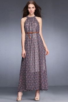 LUCLUC Floral Printed Sleeveless Maxi Dress