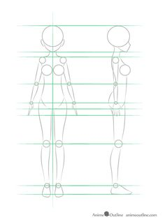 Anime girl entire body structure front and side view, Body Tutorial, Body Drawing Tutorial, Anatomy Tutorial, Drawing Anime Bodies, Anime Girl Drawings, Anime Side View, Side View Drawing, Girl Anatomy, Face Anatomy