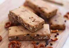 Oxymoron Chubby Hubby Protein Bars (peanut butter, pretzels, and chocolate chips but GF, dairy free, and low sugar) GOOD BLOG!!!!