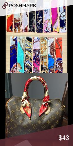 @candacejan Purse Twilly Scarfs (4 pairs) Satin Handbag twillys. Measures 39 x 1.5 inches. Bundle includes 4 pairs - Styles # 5, 6, 7, 15. Sold to @candacejan Accessories Scarves & Wraps