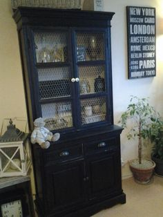 ancien vaisselier blanc repeint en noir mat et ficelle cuisine pinterest. Black Bedroom Furniture Sets. Home Design Ideas