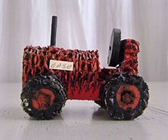 Folk Art Toy Corn Cob Tractor