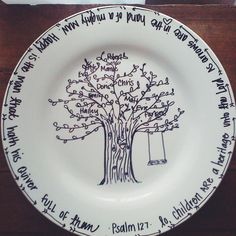 Personalized Hand Painted Family Tree Plate by PKMadison on Etsy