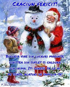 Bucuria vine din lucruri mărunte, liniștea din suflet și căldura din inima. Iți doresc să le ai pe toate, alături de familia ta! Christmas Wishes, Merry Christmas, Xmas, Christmas Ornaments, Holiday Decor, Anime, Advent, Holidays, Tattoos