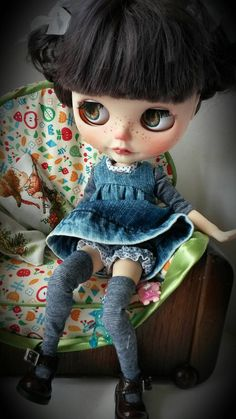 Washed denim outfit.reserved for L by MinniebloomersDesign on Etsy
