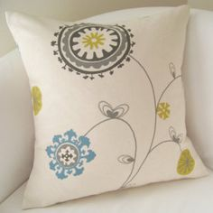 Suzani Pillow Cover 18x18 Decorative Pillow Accent Cushion Throw Gray Citrine Blue