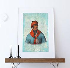 Vintage Creek Chief Native American Man Art Print Vintage Giclee on Cotton Canvas or Paper Canvas Poster Wall Decor #homedecor #art #artprint #portrait #native #nativeamerican #tribal #history #americanindian #southwestern #decor #etsy #restored #upcycled #americana #nativeamericanart #creekChief #creektribe #creek
