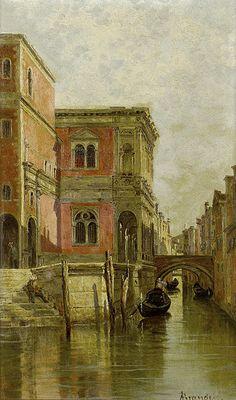 "Antonietta Brandeis (1849-1910), ""A Venetian canal""; olio su tela, 25.5x25.5 cm."