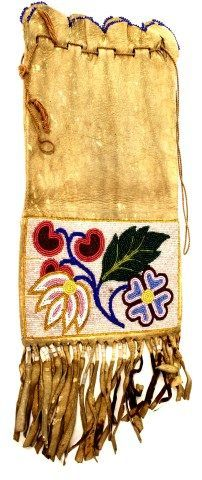 "C. 1890-1900 beaded pipe bag double sided beaded at opening with fringe to bottom, 17"" long"