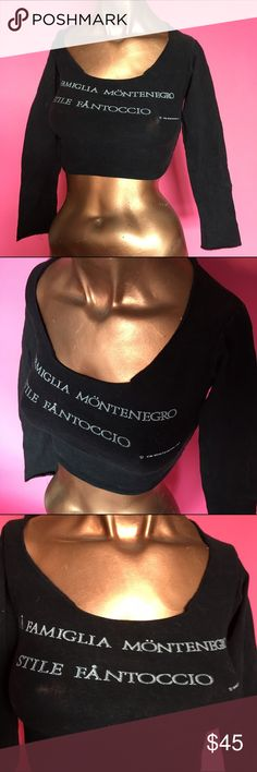 Vintage Kim Montenegro crop top This is a Vintage Kim Montenegro crop top. It's in almost excellent condition, notice final picture. There were not as many shirts with this logo on it. It's made of her super comfy black Lycra so it fits like a glove! Kim Montenegro Tops Crop Tops