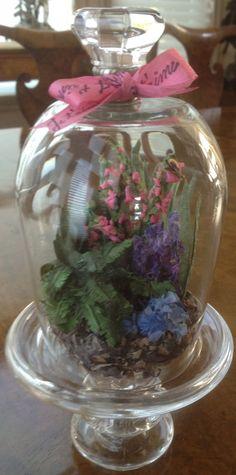 Miniature Hand-Made Garden Scenes of Paper under custom bell-jar by Papier et Fleur Creations. See Papier et Fleur on Facebook for more.  Etsy site coming soon@