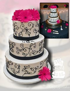 Black and white scroll gerbera daisies wedding cake