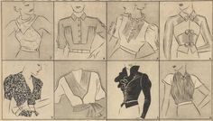 different styles of blouses from the 1930's illustrated by Petrov